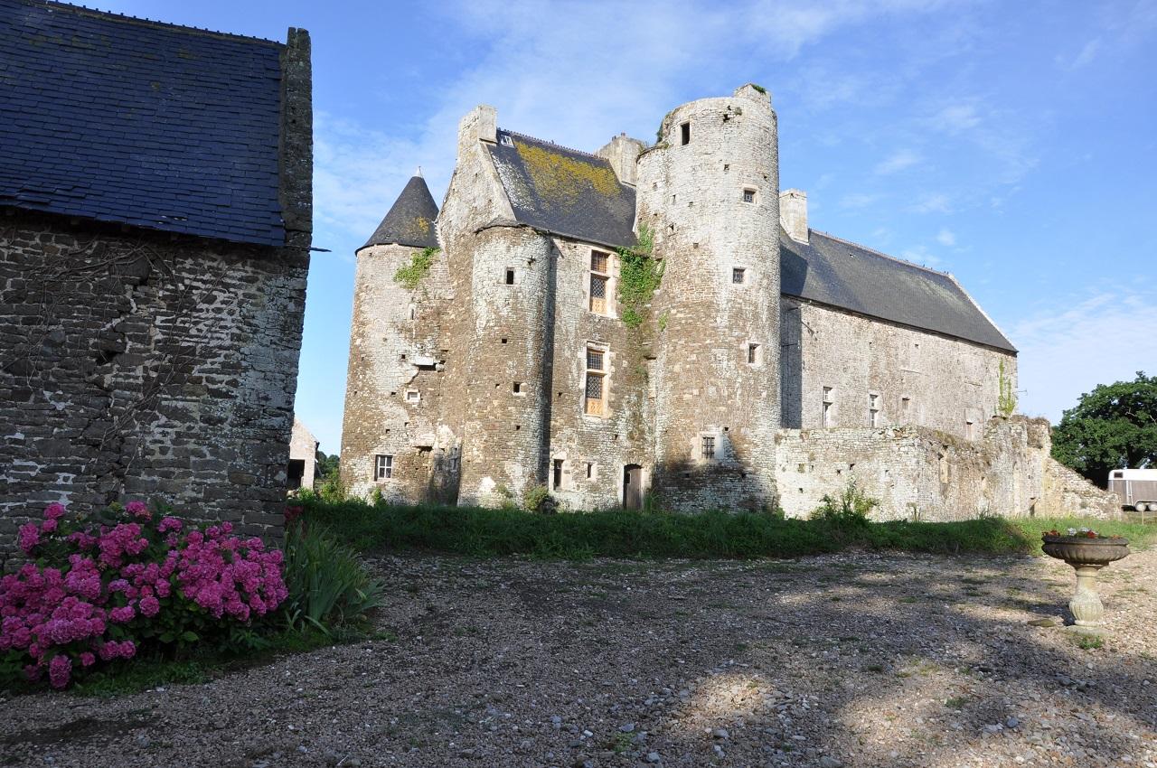 Façade postérieure du grand logis, vue depuis le moulin.